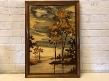 Various Wooden Modern Wall Art Lake Scene with Trees Framed