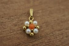 VINTAGE 9K GOLD CORAL AND SEED PEARL TINY PENDANT.