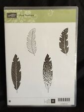 Stampin Up Stamp Set Four Feathers Bird Wood Mount New! Set of 4