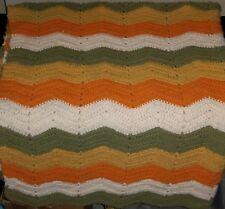 "Vtg Afghan Chevron Wavy Zig Zag Ripple Blanket 64"" x 52"" Green Orange Yellow"
