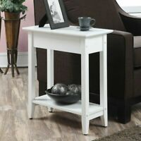 Contemporary Flip Top Sofa Side Table Accent Storage Display Lamp Stand White