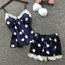 Women Sexy Silk Satin Lingerie Nightwear Set Babydoll Nightie Shorts Pajamas