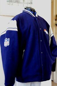 NFL Denver Broncos Reebok Bomber Wool Men's Varsity Jacket  XXL / 2XL Quilted