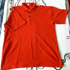 """Mens Size XXL 46"""" Vintage Le Frog Red Short Sleeve Polo Shirt 100% Cotton"""
