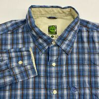 Timberland Button Up Shirt Men's Size XL Long Sleeve Blue Plaid Casual Cotton