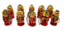 Russian wooden dolls key chain holder set of 10 hand painted in Russia New