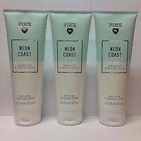 3 Victoria's Secret Pink Neon Coast ginger lily crushed leaves Body Lotion 8 oz