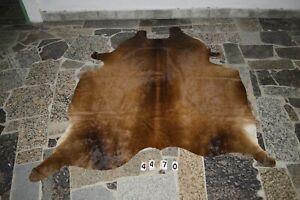 EXOTIC BROWN-  Rug HAIR ON SKIN  Leather Cowhide Rug  4470-   68'' x  62''