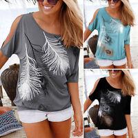chemises T-shirt manches courtes été Hauts pour Boho femmes Tops épaule Summer