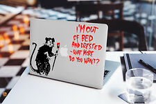 Banksy Decal for Macbook Pro sticker vinyl air mac 13 15 11 laptop out bed rat