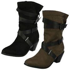 Ladies Black/Khaki Spot On Mid Calf Fashion Boots UK Sizes 3 - 8 F50454