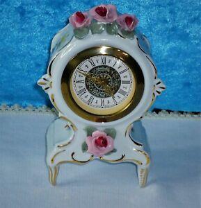 Kamin/Tisch Uhr Porzellan Dresdner Art Handarbeit Regulator Gebr. Hauser