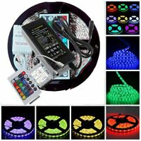 12V 5M 5050 SMD RGB Flexible LED Strip Lights +24/44key Remote+5A Adapter Power