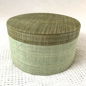 "vintage asmyca textured round mini hatbox two tone green tweed linen look 8.5x4"""