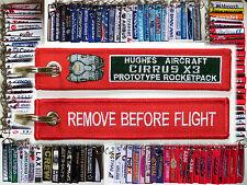 Keyring Hughes Aircraft CIRRUS X3 Rocketpack Remove Before Flight tag keychain