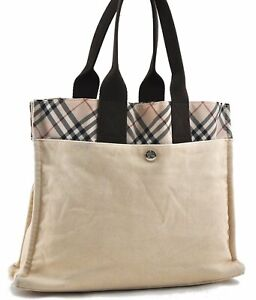 Authentic Burberry BLUE LABEL Check Canvas Tote Bag Ivory Brown C8482