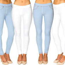 33aee5db78f486 Ladies Skinny Fit Pull On Women's Mid Waist Stretch Denim Look Leggings  Jeggings