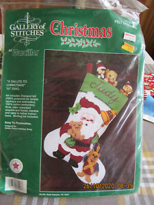 BUCILLA Gallery Stitches  Felt Stocking Kit 33048 A Salute to Christmas Santa