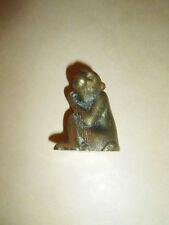 "Vintage Miniature Solid Brass Monkey Figurine - 1.5"" X 1.5"""