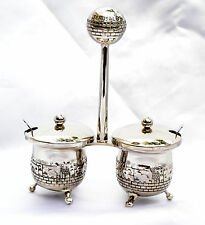 Shabbat Salt & Pepper dish Jerusalem israel Nickel Judaism W-2 small spoons