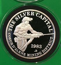 1983 Silver Capitol Idaho Sunshine Mirror Proof Coin 1 Troy Oz .999 Fine Round