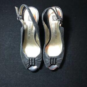 Anne Klein iflex Women's Driscol Slingback Peep Toe Navy Heels Shoes 6 M