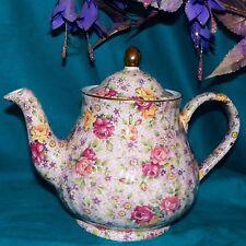 Vintage Arthur Wood & Son England Pink Chintz Daises Roses 6783 Flowers Teapot