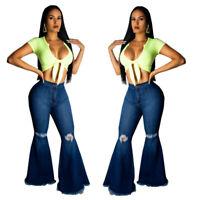 Women Casual Broken Hole Denim Slim Bell-bottoms Pants Long Jeans Trousers S-XXL