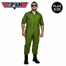 Men 80's Top Gun Flight Jumpsuit Pilot Aviator Army Fancy Halloween Plus Costume