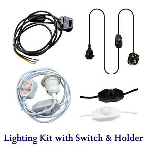 Plug In Pendant Cable Vintage Light E27/E14 Switch Holder with Shade Ring 2M/4M