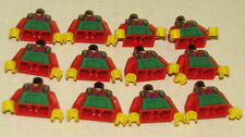 LEGO LOT OF 12 NEW RED AND GREEN FARMER KID MINIFIGURE TORSOS WITH OVERALLS