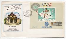 1972 ROMANIA First Day Cover MUNICH OLYMPICS SGMS3898 Mini Sheet
