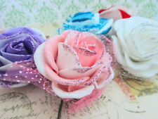 "5 Hand Made 2 Tone Foam & Lace 2.5"" Rose Flower Brooch/Craft/Home Decor H501-Mix"