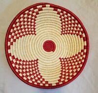 "Vintage Colorful Shallow Coiled Woven Basket Wedding Basket- 13-1/2"""