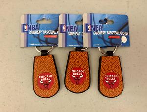 (3x) Chicago Bulls Genuine Basketball Decorative Leather Gamewear Keychain NBA