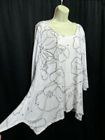 Chalet Artsy Asymmetrical White Taupe Print Stretchy Knit Tunic Top XL Crinkled
