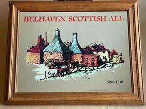 ✅Vintage Belhaven Scottish Ale Beer Mirror Bar Sign WOOD FRAME Man Cave *RARE*
