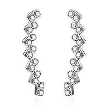 Ear Crawler Earrings Squares Crystal Cartilage Climber Silvertone Women Jewelry