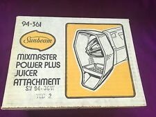 SUNBEAM JUICER  ATTACHMENT 94-361 NEW VINTAGE OLD STOCK MIXMASTER MIXER