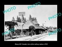 OLD LARGE HISTORIC PHOTO OF HANEY BC CANADA, THE RAILWAY STATION c1920