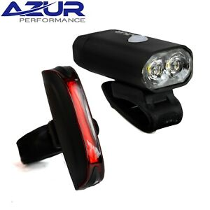 Azur Track 400 Lumen / 65 Lumen USB Bicycle Light Set  - Super Bright, 8 Modes
