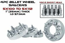 """4 - 5x100 MM TO 5x112 MM CONVERSION WHEEL SPACERS ADAPTERS 1"""" THICK 57.1 H.B"""