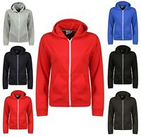 Boys Hoodie American Sweatshirt Plain Hooded Fleece Zip Up Jacket Top 7-13 Years