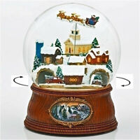 """""""HOME FOR THE HOLIDAYS"""" MUSICAL SNOW GLOBE WITH ROTATING SANTA SLEIGH AND CARS"""