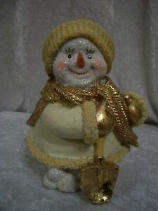 Gold and white glittery snowman ornament