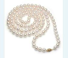 36 inch 7-8mm  AAAAA perfect Akoya white pearl necklace 14k Yellow Gold Clasp