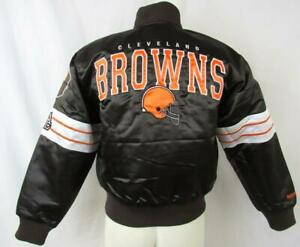Cleveland Browns Womens Small Medium or 2XL Snap Up Cropped Satin Jacket ACBN 79