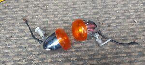Teardrop / Bullet Used Custom Motorcycle Indicators Chrome & Amber Lens #KH11