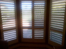 Wood Internal Plantation Shutters Custom Made Interior Window Hinged with Framin