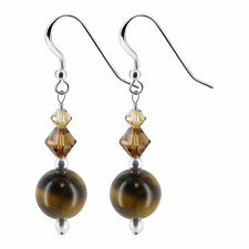 Tiger Eye Sterling Silver Drop Earrings Made with Swarovski Elements Crystal